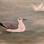 Gull and Paper boat 2014 Oil on canvas (84 x 59cm).jpg